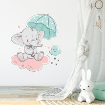 Baby elephant on cloud_dupl