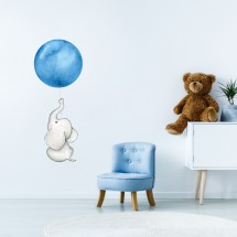Elephant with balloon - blue