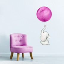 Elephant with balloon - pink